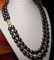 "New Fine Pearls Jewelry double strand12-13mm tahitian black baroque pearl necklace 18""19"" 14k"