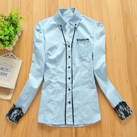 Free Shipping B-22 Spring Long Sleeve Stretch Cotton Shirt Fashion Lace Ladies Shirt OL Commuter