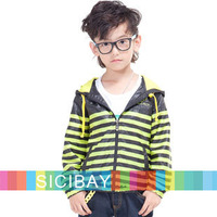 Retail Free Shipping Sports Clothing Boy Autumn Striped Hooded Jackets,Kids Street Leisure Wear K4219