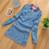 Free Shipping B-24 Spring Stitching Washed Denim Long-Sleeved Shirt Casual Cotton Shirt And Long Sections