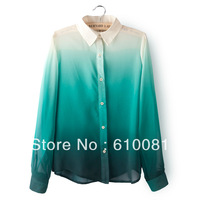 2014 New Spring Women Gradient Color Rendering Lapel Collar Long Sleeve Chiffon Blouse