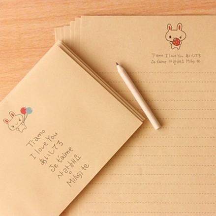 10 комплект /lot, Корея милый клубника воздушный шар кролик коровьей бумаги 8 стр. письмо + 4 шт. конверт комплект бесплатная до
