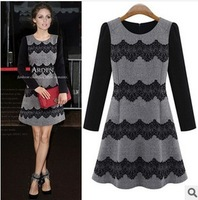 Brand 2013 Women Sweet Eyelash Lace Elegant Slim Autumn/Winter Dresses Long-sleeve Casual Dress Fashion Girl Dress Party Dresses
