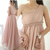Romantic Greek goddess style bridesmaid dress one shoulder long evening dresses 3 colors 10-16