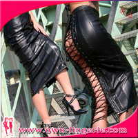 Free Shipping Fashion PU Leather Long Skirt Dress,Bandage Back