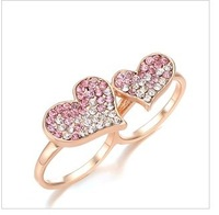 free  shipping Set auger double heart double loop ring female jewelry gift e  heart-shaped ring