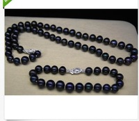 "18"" SOUTH SEA 9-10MM BLACK AAA PEARL NECKLACE + BRACELET 14K WHITE"