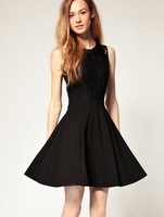 lace waist slim waist dress in Europe style dress women 2013 fashion classic little black sweet dress