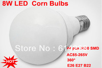 Hot E27/E26/B22 44PCS 5050SMD 8W LED Corn Bulb White / Warm White LED Lamp AC85-265V