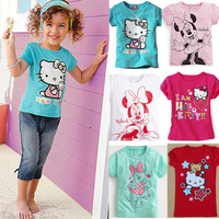 Girls boys t shirt 2013 New Fashion Baby Girls Boys Hello Kitty Tshirt Minnie Cotton Short-Sleeved Casual T-shirt For Kids child