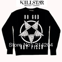 Harajuku No God But Pizza Pizzagram Print Sweatshirts Regular Unisex Fit plus size MLXL outerwear loose fleece pullover In Stock