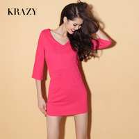 Free shipping Krazy fashion women's V-neck vintage pocket decoration solid color one-piece dress half sleeve dress 1016