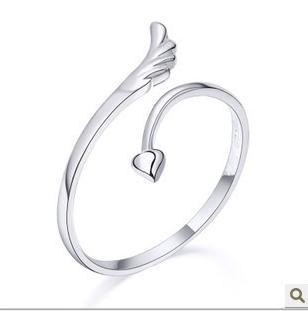 Min order$10 Free Shipping new women Fashion cheap vintage cute heart wing 925 sterling silver Rings gifts jewellery wholesale(China (Mainland))