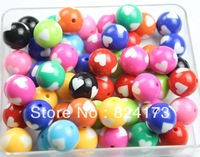 100pcs Heart Beads Round Vintage Style Chunky Beads Mixed Color Assortment 20mm
