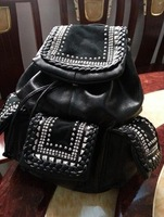 free shipping Knitted high quality rhinestone rivet punk personality backpack stunning female bags