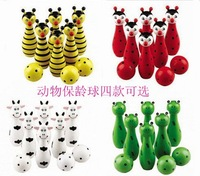 4 Desing Cheap Cute Wooden Animal Style Bowling Toy Bowling Balls Game Baby Intellectual Toys Children Gift