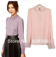 Free shipping 2014 spring new lace collar long-sleeved chiffon shirt back buttons Pink Purple S, M, L