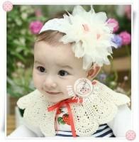.Baby Girl's Multilayer gauze big flowers baby Headband Headwear Hair Accessories Infant Hair Band-19