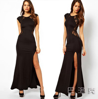fashion sexy evening dress lace long dress black Europe women lace long party dress