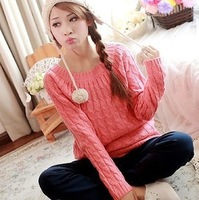 Korean round neck twist rhomic shape pullover sweater cute female college style retro bottoming women sweater
