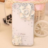 5S New Luxury Girl Phone Bags Cases with Pearl For iPhone 5S  Handmade big Pearl case for iphone4 4s case