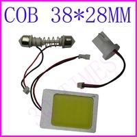 Free shipping Wholesale White 6W COB Chip 38*28MM Car Interior Light T10 Festoon Dome Adapter 12V, Car LED Panel light