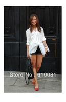 Free shipping  chiffon white shirt OL big pocket chiffon ladies' blouse