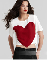 European fashion big love heart cotton short t shirt women sexy T-Shirt printing heart women T-shirts
