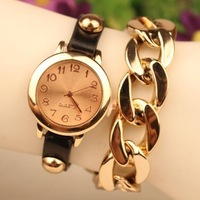 2014 New Fashion Punk Style Women's Ladies Genuine Leather Wrap Golden Leather Chain Quartz Dress Wristwatches Casual Watches
