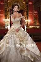 Champagne Sweetheart Appliqued One Shoulder Bridal Modest Wedding Dress With Flowers Custom Made