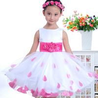 Free Shipping 2013 Summer Girls Dress kid's One-piece Dress Princess wedding dress Petals Performances veil