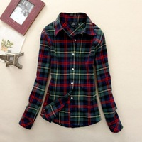 Women's long sleeve shirt large size women's autumn and winter coat Korean version bottoming thick warm cotton plaid shirt femal