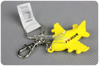 4cm Cute Mini Three-dimensional 3D I Love Guam Airlines Yellow Plane Keychain Key chain Airplane Keyring Key Ring Free Shipping
