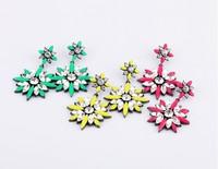 FREE-SHIPPING Fashion elegant candy color acrylic flower earrings drop earring