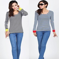 Women Cotton O-Neck Striped Casual T-shirt Lady Long Sleeve Tops Korean  Style Girls New Tees Free Shippping Wholesale Clothes