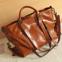 Fashion brief vintage motorcycle bag ol work bag oil multifunctional leather female bags handbag