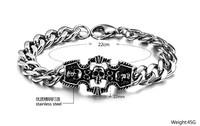 Jewelry classic skull titanium male bracelet vintage  1 pieces