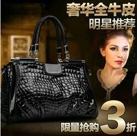 2013 cowhide female bags crocodile pattern handbag vintage shoulder bag chain japanned leather bag