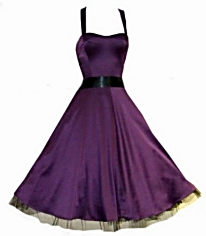 Pretty Kitty 50s Rockabilly Purple Satin Swing Party Prom Dress 8 18 Free Post(China (Mainland))