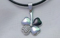 Four leaf clover male women's titanium diamond pendant  1 pieces