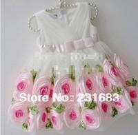 Free shipping Wholesale Girls White Chiffon Mosaic Big flowers Rose Full dress 2-6 years old 5pcs/lot