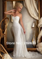 2014 everlasting love New Elegant Simple Design Sweetheart Bridal Beach Sheath Lace Wedding Dress Court Train Custom Made