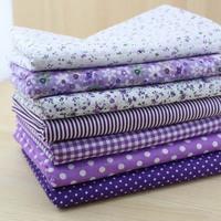 7 Pieces Purple Series Cotton Fabric Patchwork Fabric Square,Floral dot stripe Quater Bundle Quilting 50cm*50cm FREE SHIPPING!