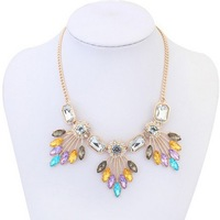 2014 New Arrive Hot Sale Jewelry Lady Statement Multicolor Acrylic Bib Bubble Beaded Necklace Wholesale Free Shipping#101598