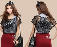 Hot !!2014 Women's Fashion Embroidery Short Shirt Batwing Sleeve O-neck Lace  Floral Crochet Cutout Blouse
