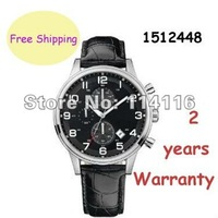 New HB1512448 Gents Black Dial Chronograph Watch HB 1512448 Stainless Steel Case Black Leather Strap Quartz Movement