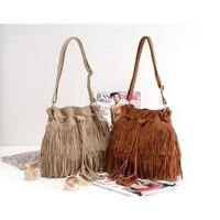 K024 Faux Suede Fringe Tassel Shoulder Bag fashion brief vintage tassel bucket bag drawstring bag women's Messenger handbag