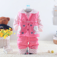 Autumn and winter bodysuits cat bow set before the open button vest girl child three piece set