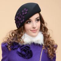 New Fashion Women Berets Flower Adjustable Autumn Cap Female Elegant Beret Hat Casual Winter Woolen Caps For Women Free Shipping