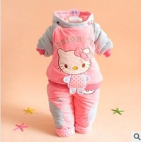 Small girl child set hello kitty cat thickening wadded jacket set infant winter clothing